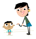 Illustration young boy and adult female talking