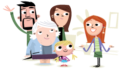 Illustration of family and professional