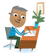 Illustration adult man writing at desk