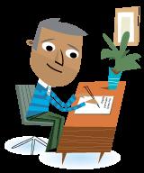 Illustration adult man writing at desk