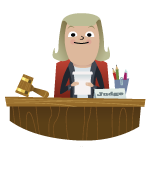 Illustration of judge at desk