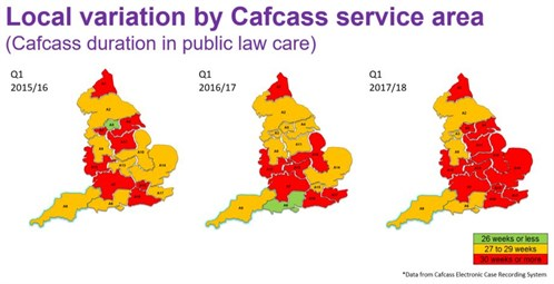 Map showing local variation in care duration